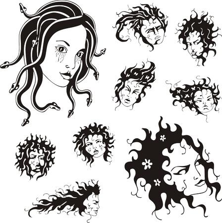 medusa: Medusa faces  Set of black and white  illustrations  Illustration