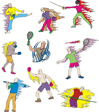 Miscellaneous Sportsmen with flames  Set of color  illustrations  Vector