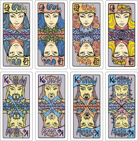 Queens and kings of playing cards  Fully original hand-drawn artistic set of color  illustrations  Vector