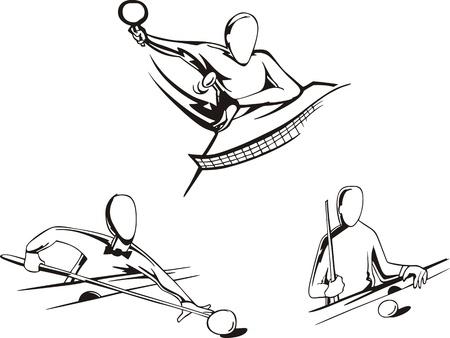 piscina olimpica: Piscina y tenis de mesa Juego de las ilustraciones en blanco y negro