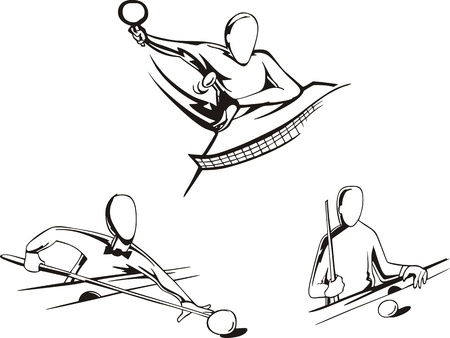 pool player: Pool and tennis table  Set of black and white illustrations