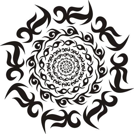 Round tribal decorative pattern  Black and white illustration  向量圖像