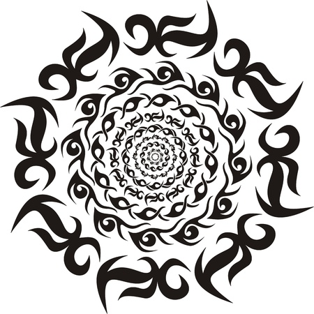 Round tribal decorative pattern  Black and white illustration  Illustration