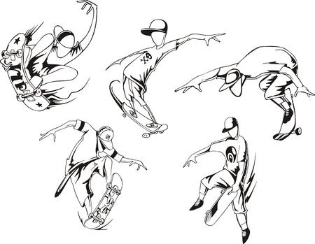 Skateboarding  Set of black and white  illustrations