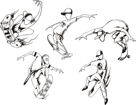 Skateboarding  Set of black and white  illustrations