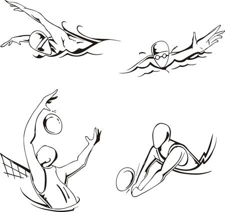 waterpolo: La nataci�n y el waterpolo conjunto de ilustraciones en blanco y negro