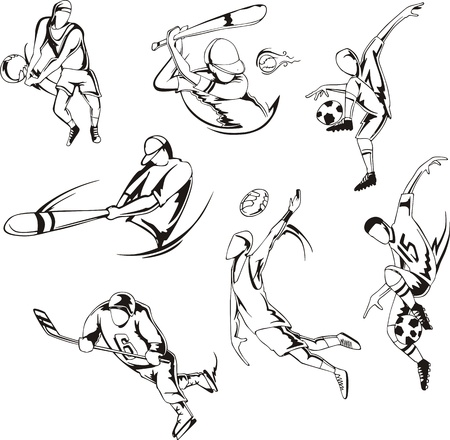 Team sports  Set of black and white  illustrations  Vector