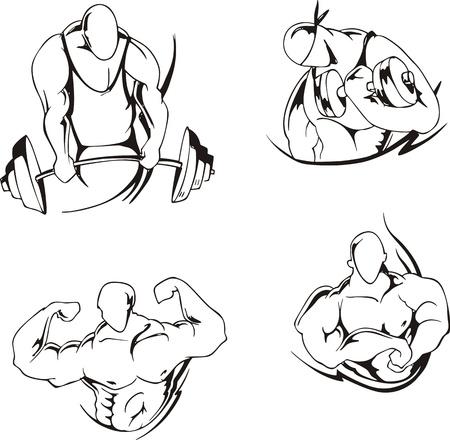 Sollevamento pesi e body building Set di illustrazioni in bianco e nero Vettoriali