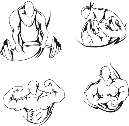 strongman: Weight lifting and bodybuilding  Set of black and white  illustrations