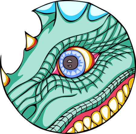 jaw: Dragon eye and jaws in round form. Color vector illustration.