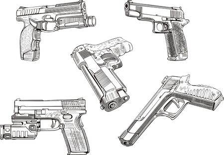 Gun sketches. Set of black and white vector illustrations. Vector
