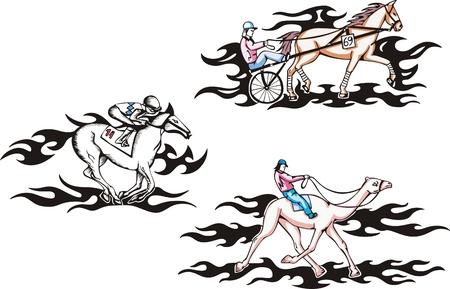 hippodrome: Hippodrome racing. Set of color vector illustrations.