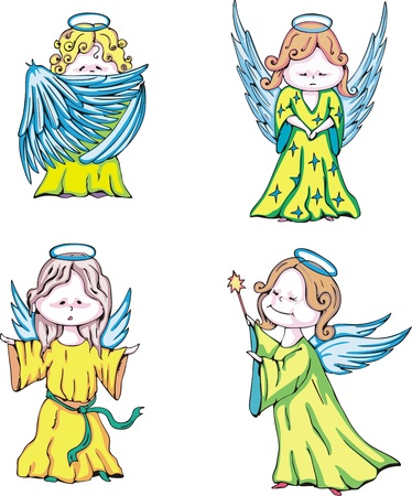 面白い子供たちの天使.カラー ベクター イラストのセットです。