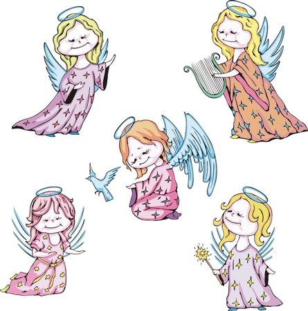 christian angel: Funny kids angels. Set of color vector illustrations. Illustration