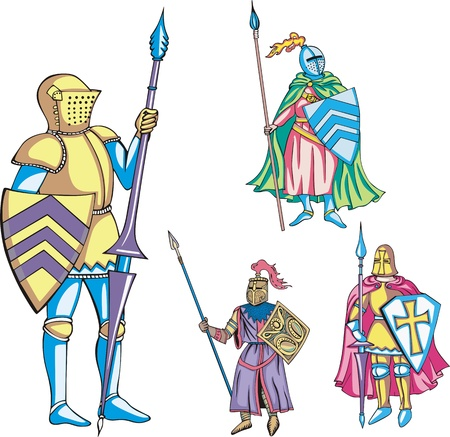 Medieval knights with lance. Set of color vector illustrations. Illustration