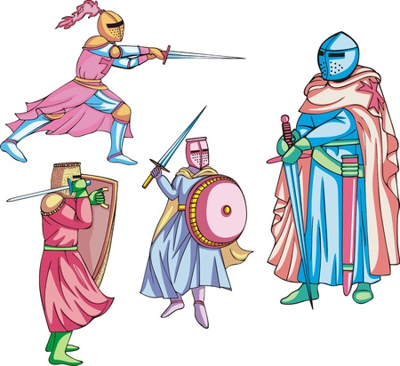 colo: Medieval knights. Set of colo illustrations. Illustration