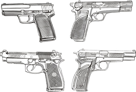 calibre: Pistol sketches. Set of black and white  illustrations.
