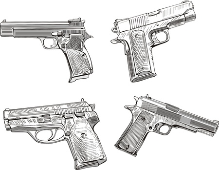 Pistol sketches. Set of black and white vector illustrations. Vector