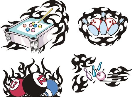 Pool and bowling flames. Set of color vector illustrations. Vector