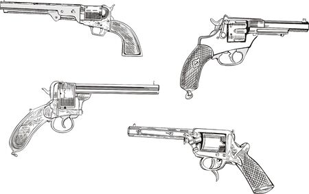 Revolver sketches. Set of black and white vector illustrations. Vector