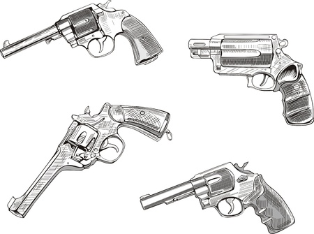 Revolver sketches. Set of black and white illustrations. Vector
