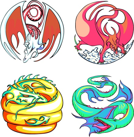Round dragon designs. Set of color vector illustrations. Stock Vector - 14744804