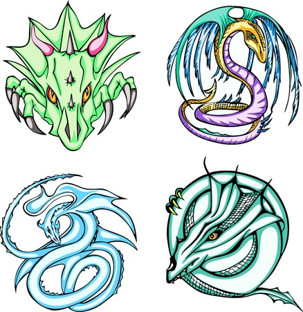 Round dragon designs. Set of color vector illustrations. Stock Vector - 14744816