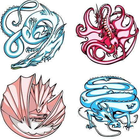 Round dragon designs. Set of color vector illustrations. Vector