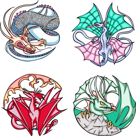 Round dragon designs. Set of color vector illustrations. Stock Vector - 14744912