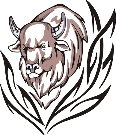 animalistic: Tattoo with bison head. Color vector illustration.
