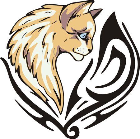animalistic: Tattoo with cat head. Color vector illustration. Illustration