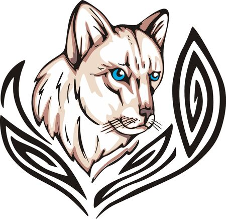 Tattoo with cat head. Color vector illustration. Vector