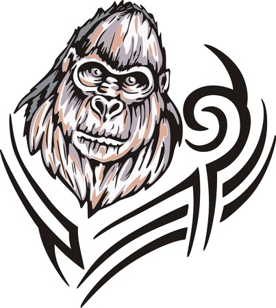 animalistic: Tattoo with gorilla head. Color vector illustration. Illustration