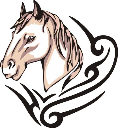 color tribal tattoo: Tattoo with horse head. Color vector illustration. Illustration