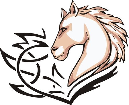 animalistic: Tattoo with horse head. Color vector illustration. Illustration