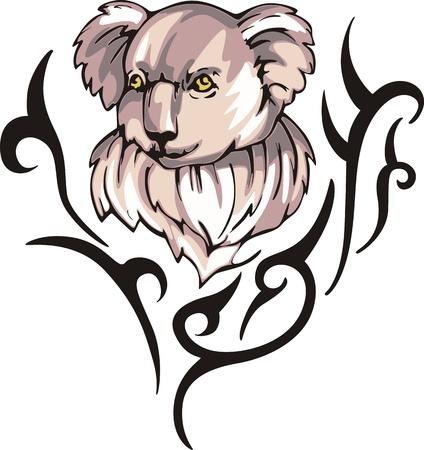 animalistic: Tattoo with koala head. Color vector illustration.
