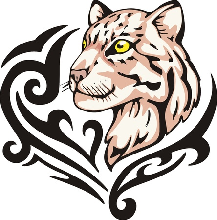 leopard head: Tattoo with leopard head. Color vector illustration.