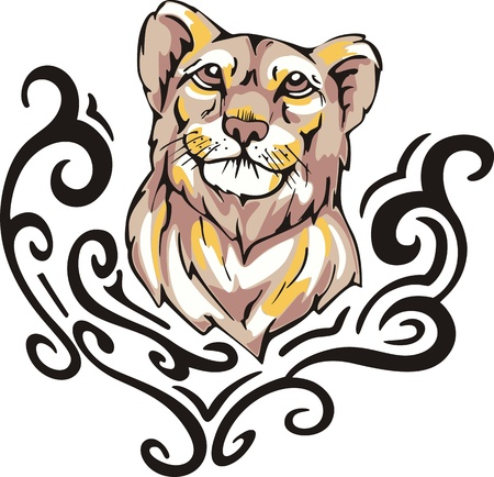 Tattoo with lioness head. Color vector illustration. Illustration