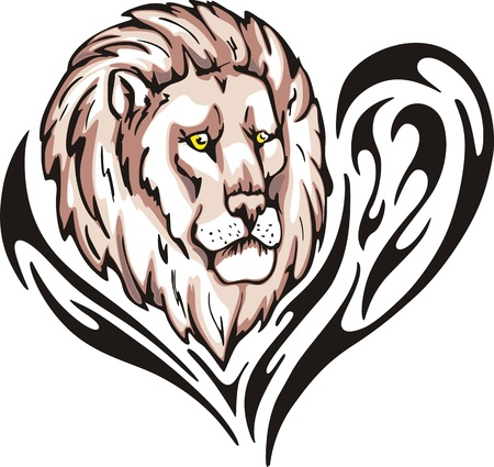 Tattoo with lion head. Color vector illustration. Vector