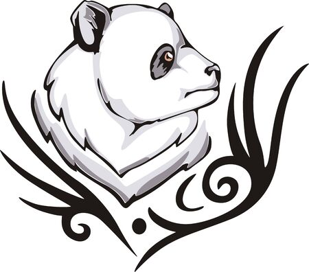 Tattoo with panda head. Color vector illustration. Vector