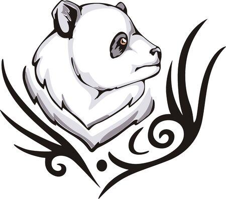 animalistic: Tattoo with panda head. Color vector illustration.