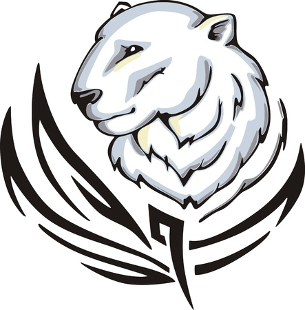animalistic: Tattoo with polar bear head. Color vector illustration. Illustration
