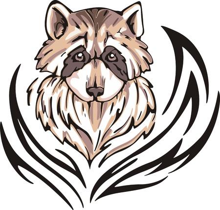 animalistic: Tattoo with raccoon head. Color vector illustration. Illustration