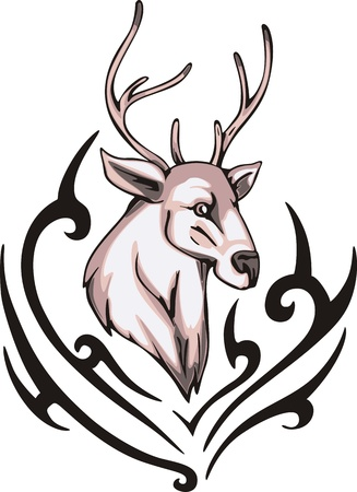 color tribal tattoo: Tattoo with reindeer head. Color vector illustration.