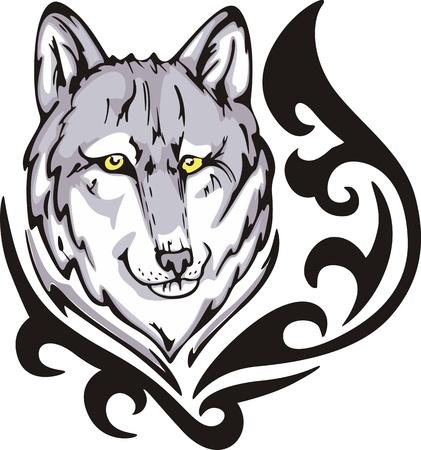 オオカミの頭と入れ墨。色ベクトル イラスト。
