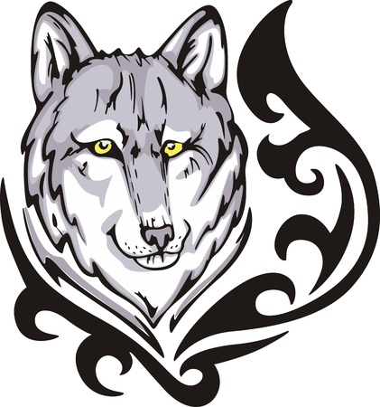 color tribal tattoo: Tattoo with wolf head. Color vector illustration. Illustration