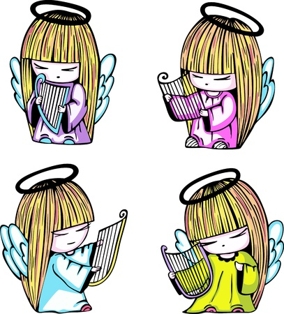 Little angel girls with harp. Set of color vector illustrations.