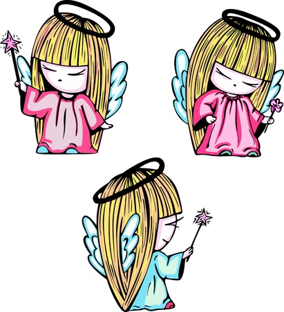 nimbus: Little angel girls with magic stick. Set of color vector illustrations.