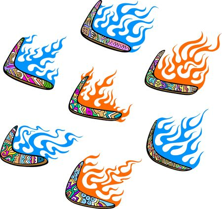 boomerangs: Australian Boomerangs with Flames. Set of color vector illustrations. Illustration