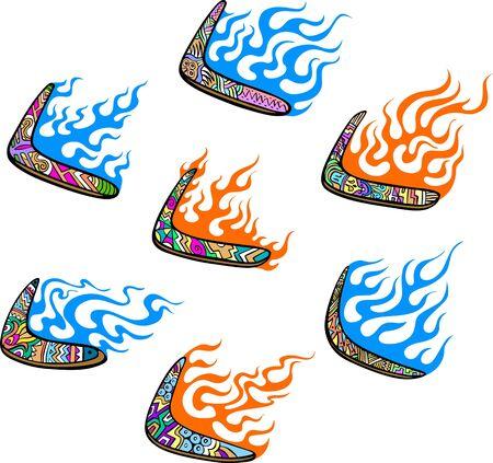 boomerangs: Australian Boomerangs with Flames. Set of color vector illustrations. Illustration